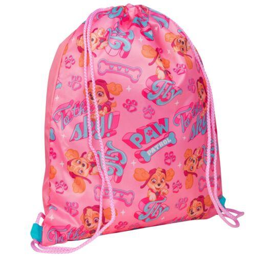 Paw Patrol Girls Kids Swimming Bag Gym Sports School Drawstring Bag