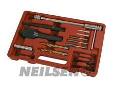 Broken Damaged Glow Plug Removal Remover Drill & Wrench Car Garage Tool Set New