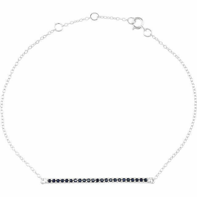 Natural bluee Sapphire Chain Bracelet 14K Solid White gold 6-8  Adjustable length