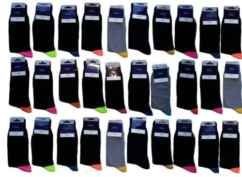 20 PAIRS MEN/'S ADULTS BLACK COTTON SOCKS WITH MIX COLOURED UK SIZE 6-11 NDRM