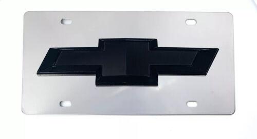 Chrome Chevy Bowtie Emblem License Plate w// 3D Black Gloss Logo