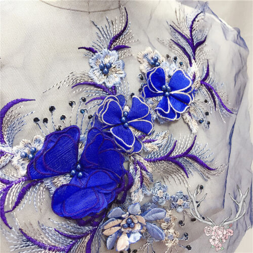 3D Embroidery Flower Bridal Lace Applique Pearl Beaded Tulle DIY Wedding Dress