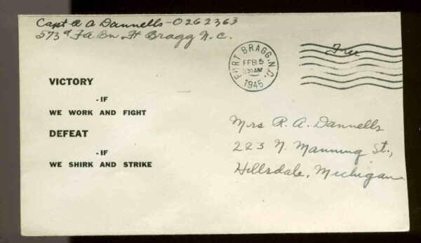 1945 WW2 PATRIOTIC SHERMAN #9472 SHAFFER PUBLISHER 'FREE' & MILITARY BASE