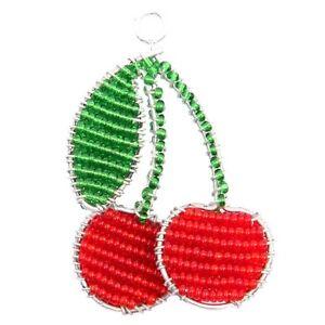 Beadworx-cerises Porte-clés - Perles Travail Populaire Perles De Verre-afficher Le Titre D'origine Belle En Couleur