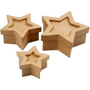 Set-of-3-Star-Shaped-Boxes-Craft-Storage-Brown-Paper-Mache-Decorate-Hand-Made