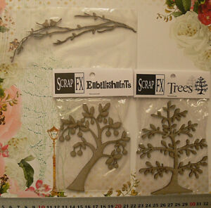 CHIPBOARD-Die-Cuts-TREES-amp-TWIGS-with-BIRDS-x-3-Style-Choice-Scrap-FX-G