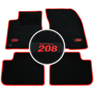 4 tapis sol moquette logo rouge sur mesure peugeot 208 feline gti allure active ebay. Black Bedroom Furniture Sets. Home Design Ideas