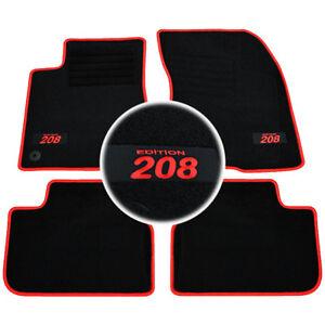 4 tapis sol moquette logo rouge sur mesure peugeot 208 feline gti allure active ebay. Black Bedroom Furniture Sets. Home Design Ideas
