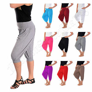 Ladies-3-4-Harem-Baggy-Shorts-Women-Plain-Cropped-Ali-Baba-Trousers-Pants-8-22