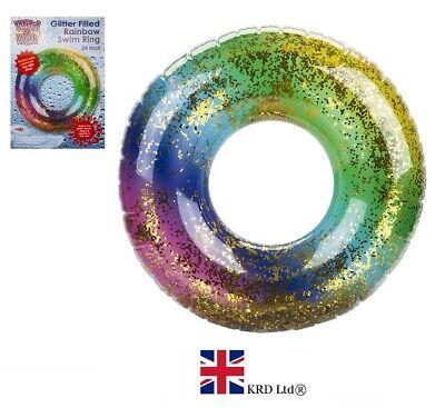 "20/"" Kids INFLATABLE RAINBOW GLITTER SWIMMING RING Water Float Pool Fun Beach UK"