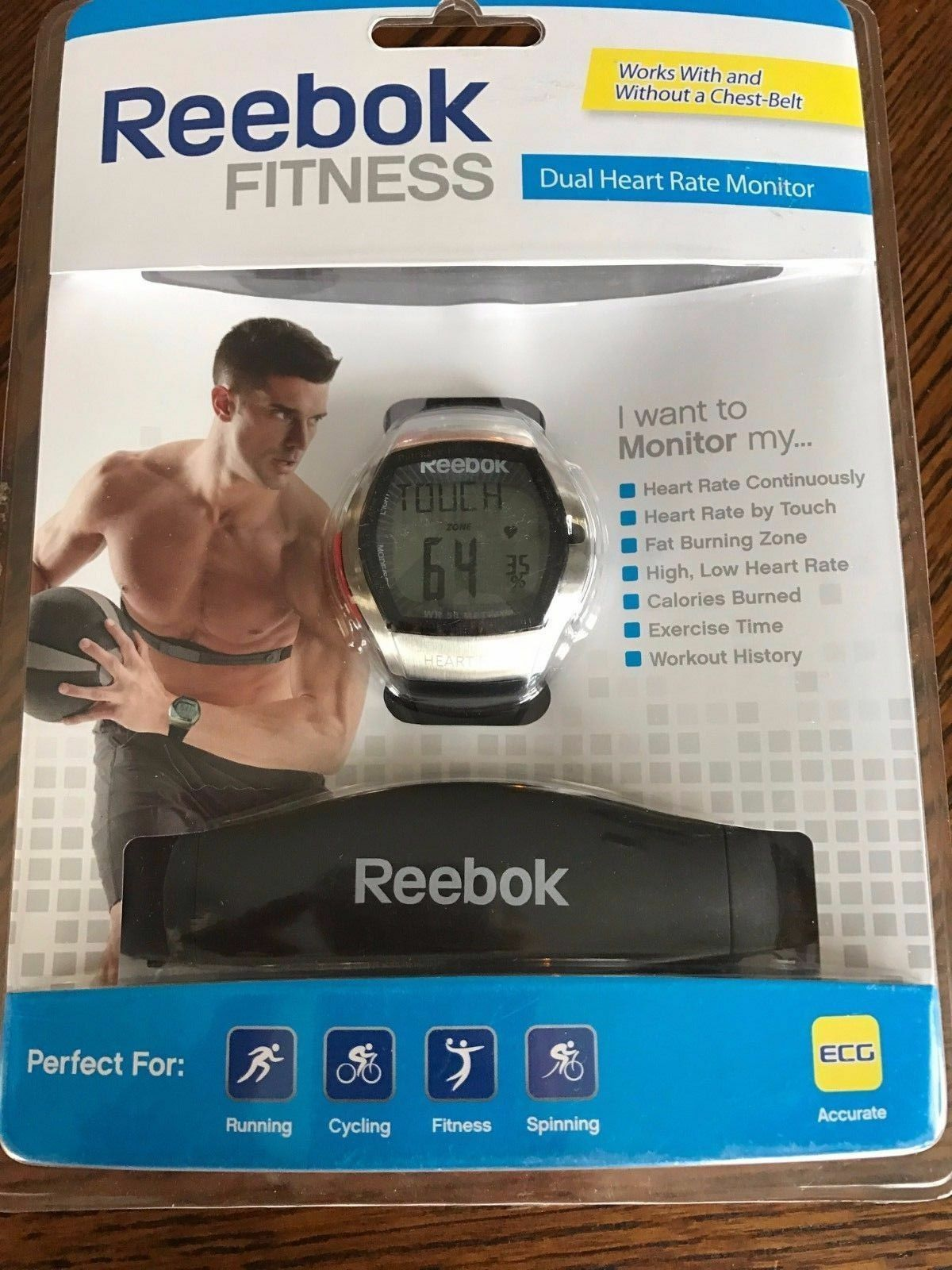 REEBOK MAN FITNESS DUAL HEART RATE MONITOR & CHEST STRAP NEW