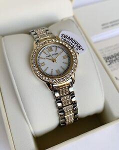 Anne Klein Watch * 1493MPTT Swarovski Mother of Pearl 2Tone Gold & Silver Steel