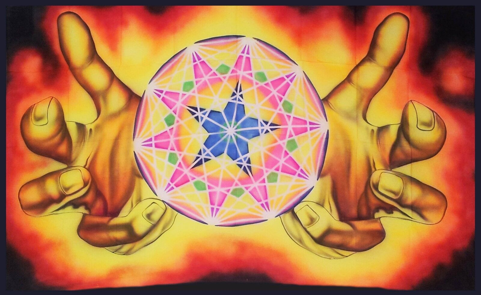 ON SPECIAL SPECIAL SPECIAL Psychedelic Wall Hanging Sacred Geometry Tapestry LSD Trippy UV 9800af