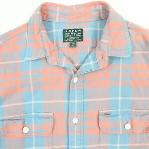 J-CREW-Sporting-Goods-Heritage-Flannel-Work-Shirt-Mens-SMALL-Pastel-Plaid-Chore