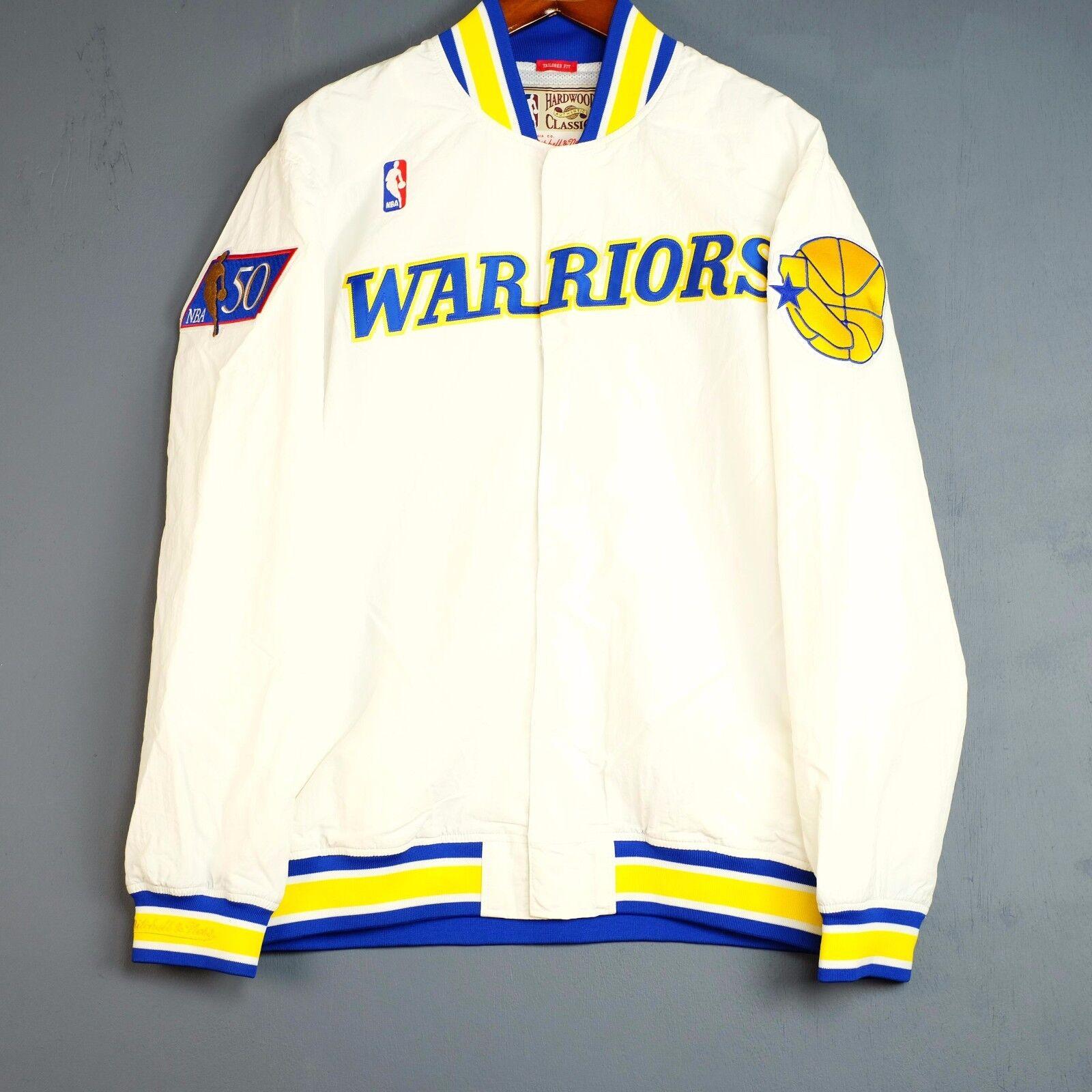 100% Authentisch Mitchell & Ness Warriors Warm Up Jacke Größe XL 48 - Curry