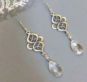 Celtic-Knot-Art-Deco-Earrings-Drop-Sterling-Silver-Swarovski-Crystal-Teardrop