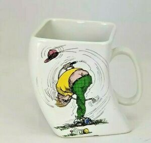 Vintage-Golf-Mug-The-Results-Of-Over-Swing-Twisted-Coffee-Cup-1991-Funny