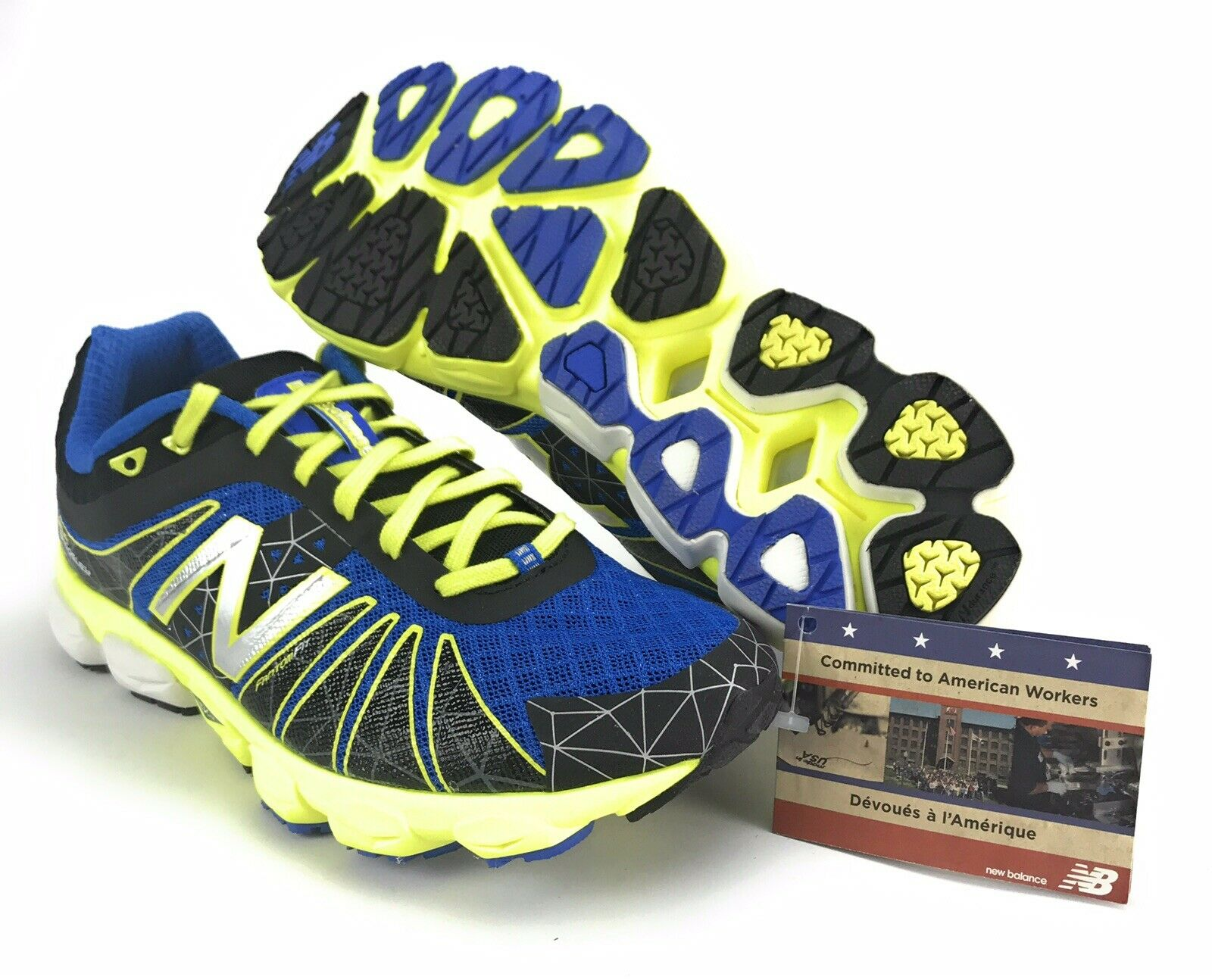New Balance Men's 890v4 Baddeley Black Hi Vis Yellow bluee Running shoes Sz 9 D
