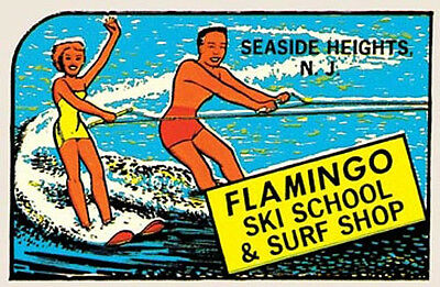 WEB  Surf Shop NJ New Jersey    Vintage Style Travel Surfing sticker Decal