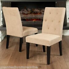 Set Of 2 Contemporary Tufted Light Brown Fabric Dining Chairs