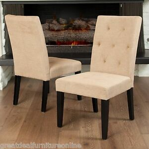 Set of 2 contemporary tufted light brown fabric dining for Contemporary fabric dining chairs