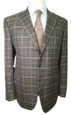 New!!! Rafaelle Caruso Pure Cashmere Gingham Check 44 Uk / 54 It Made In Italy