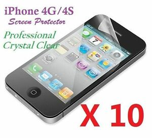 Apple-iPhone-4-4S-LCD-Screen-Protector-Ultra-Clear-Bulk-Wholesale-Lot-X-10