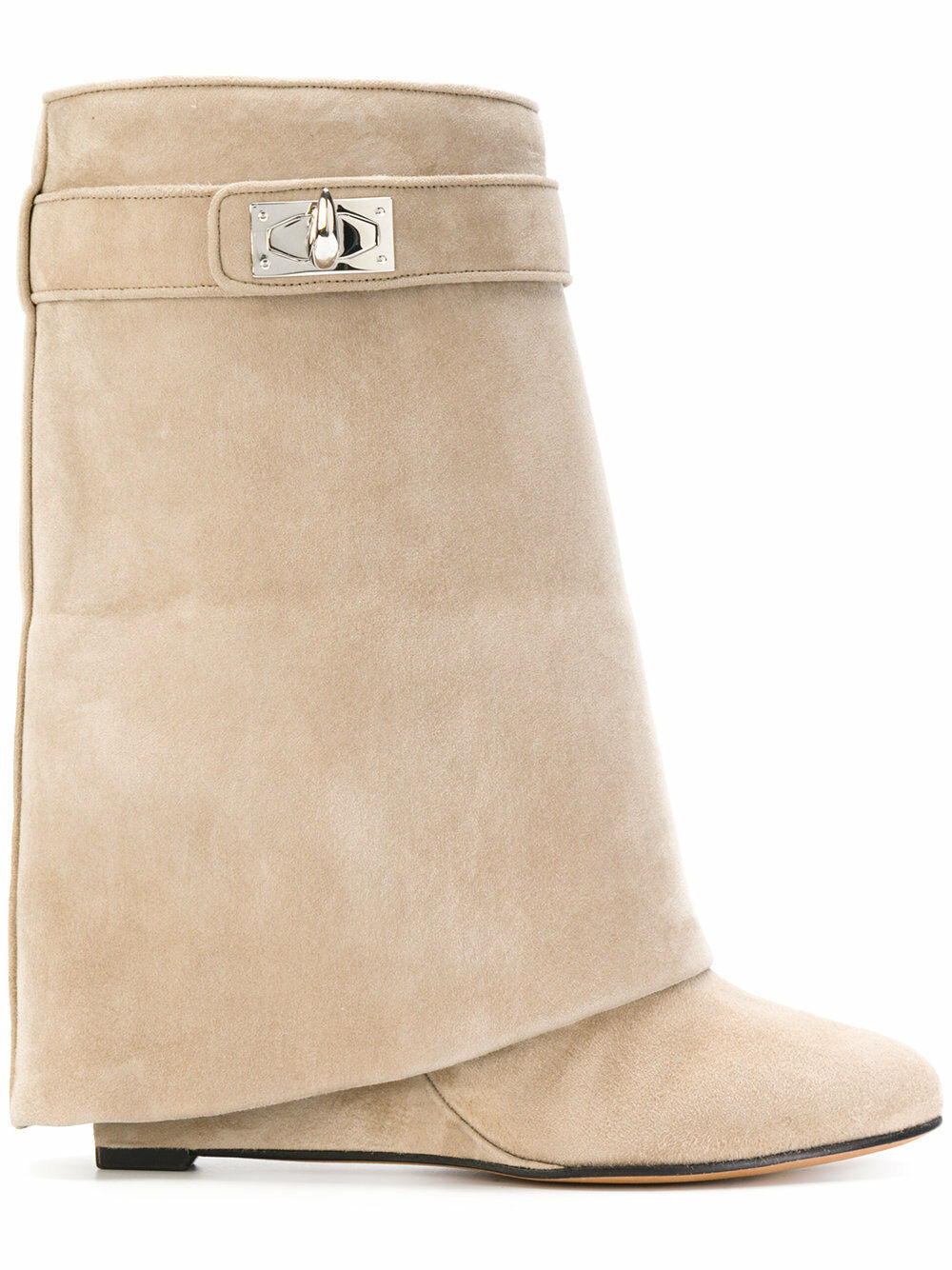 NIB Givenchy Beige Camel Suede Shark Tooth Lock Foldover Wedge Heel démarrage chaussures 38