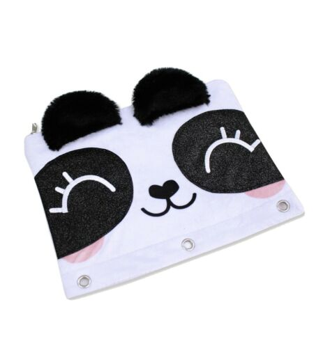 U Style Panda 3 Ring Binder Pencil Pouch with 3D Fuzzy Ears and Glitter Eyes