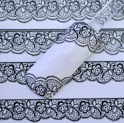 3D Black Lace Design Nail Art Stickers Flower Manicure Tips Decals Accessories