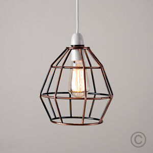 Modern copper metal wire frame ceiling pendant light lamp shade image is loading modern copper metal wire frame ceiling pendant light greentooth Gallery