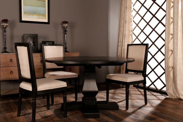 Clic Rustic Meval Style Round Dining Room Kitchen Table Black