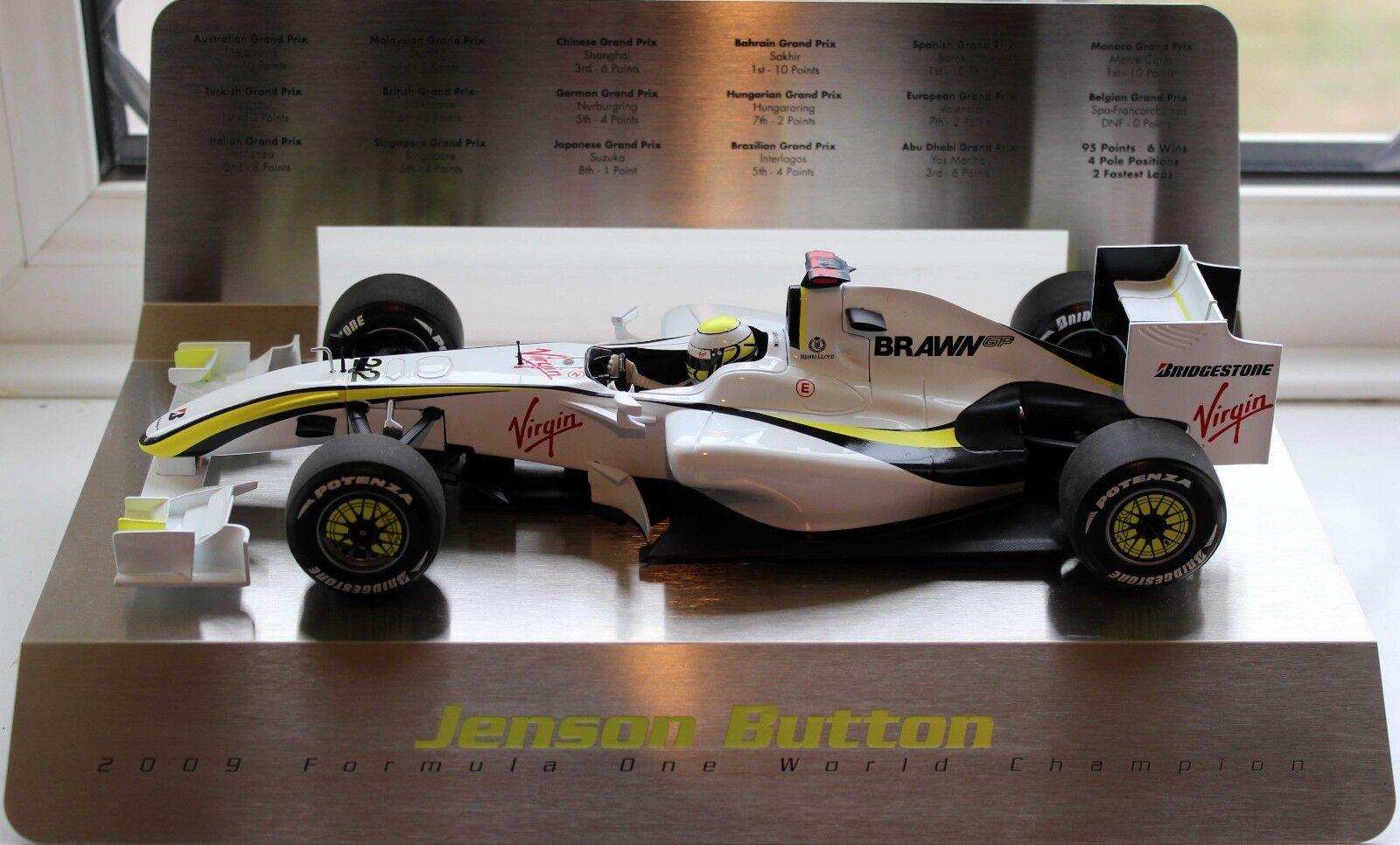 Minichamps 1 18 BRAWN GP F1 Jenson Button CAMPIONE DEL MONDO 2009 S visualizzazione in acciaio