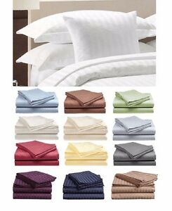 Italian Collection 1800 Count Bed Sheet Striped Set King