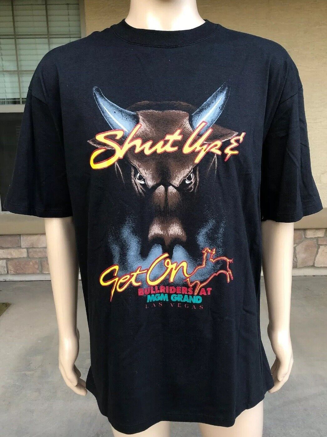 Vintage 90s 1993 MGM Grand Las Vegas Shut Up And Get On Bull Riders USA XL
