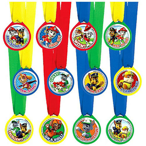 PAW PATROL AWARD MEDALS (12) ~ Birthday Party Supplies Favors Plastic Prizes