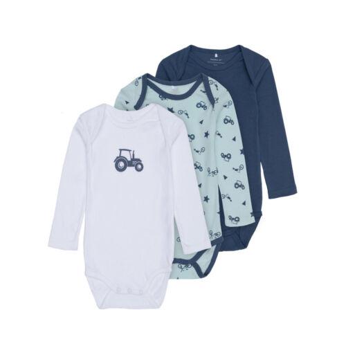 3er Jungs Baby Body NAME IT JUNGEN Geschenk Set langarm reine Baumwolle Auto