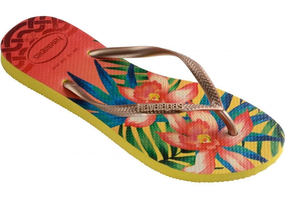 65ff4e415 Havaianas Brasil 2018 LOGO SLIM LIGHT YELLOW TROPICAL Flip Flops thongS BNWT