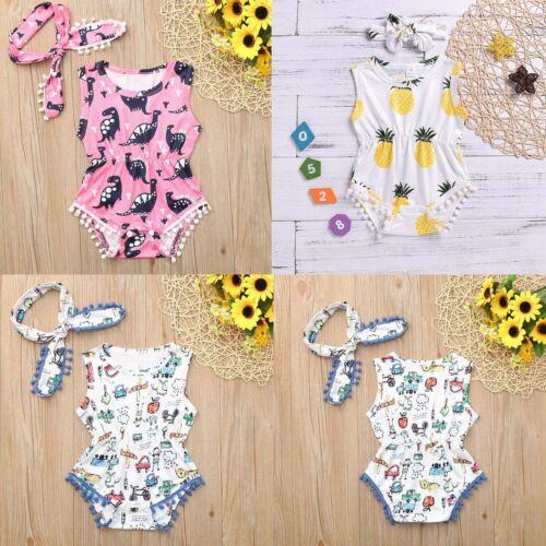 Details about  /Infant Baby Dinosaur Print Jumpsuit Romper Bodysuit Sunsuit+Headband Outfits Set