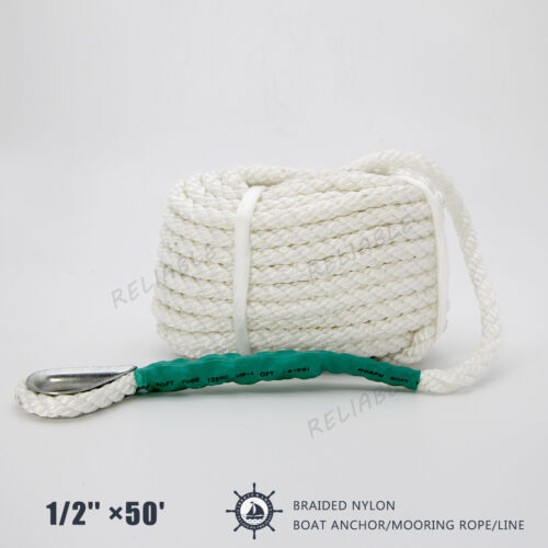 """White Twisted 3 Strand 1//2/"""" x 50/' ft Premium Marine Boat ANCHOR LINE Tow Rope"""