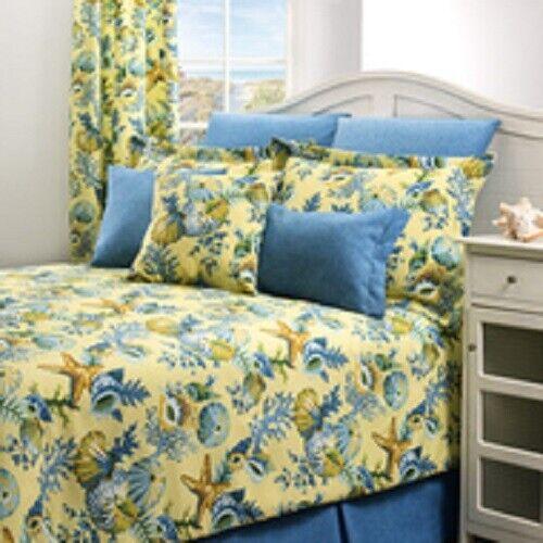 Yellow & Blue Corals Shells Starfish Ocean View Bedding Comforter Set Beach FULL