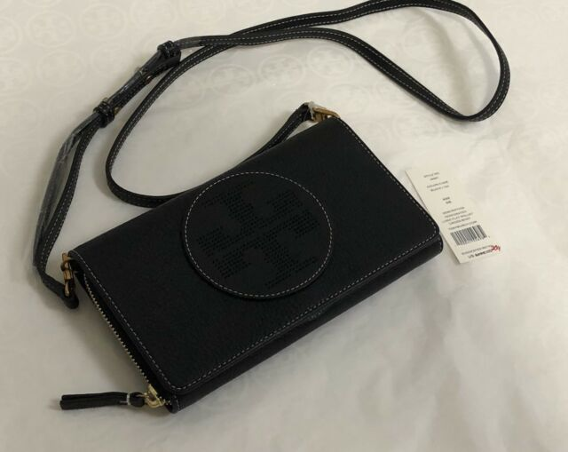 d8223e77bd2a 129c Tory Burch Black Perforated Leather Wallet Crossbody Bag for ...