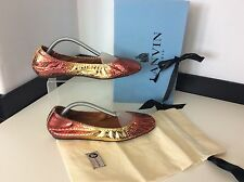 Lanvin Ballet, Ballerina Shoes Flats Uk 3 Eu36 Gold Orange Python Skin RRP £595