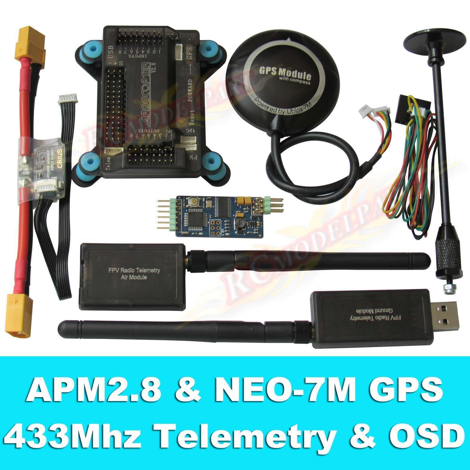 Apm2.8 controlador de vuelo + neo-7m Gps, 3DR 433 Mhz telemetría, OSD, módulo de alimentación