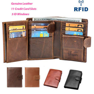e869ad847ba5 Details about Large Leather Card Holder Coin Purse Trifold Wallet 3 ID  Windows Zipper For Men