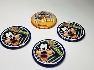 Disneyland-Resort-1st-Visit-amp-Goofy-s-Kitchen-3-Inch-Buttons-With-Pin-Lot-Of-4
