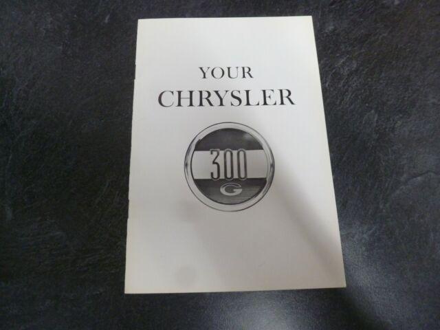 1961 Chrysler 300G Coupe Convertible Owner Operator Manual User Guide ORIGINAL