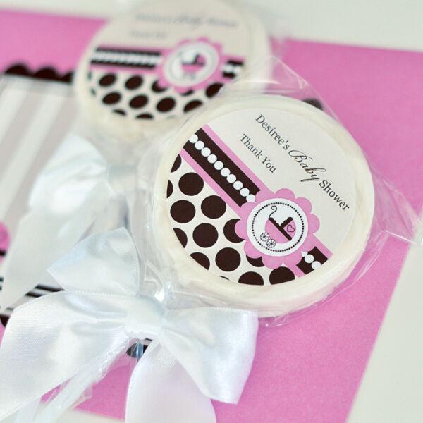 48 rose bébé thème sucettes personnalisées Lollipop Baby Shower Anniversaire Faveurs