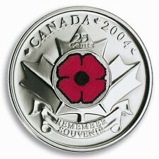 2004 Canada Remembrance Day Poppy 25 cents UNC From Roll