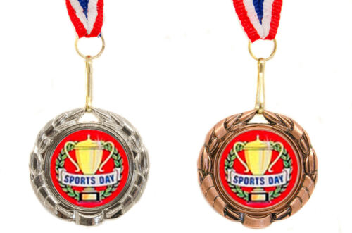 Wreath Design Round Metal School Sports Day Medal on Ribbon Silver or Bronze